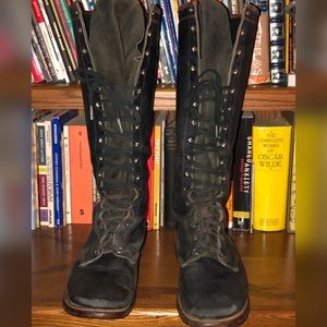 Vintage Women's Army Lace-up Leather Boots-Size 9